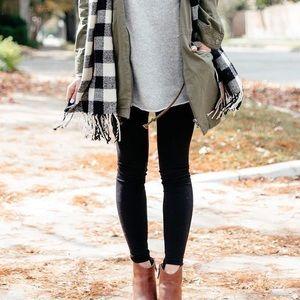 Pants - Black Fleece Lined Full Ankle Length Leggings [J]